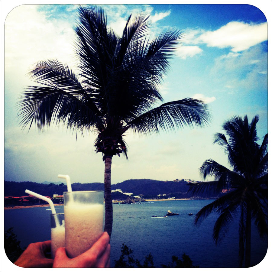 Cocktails and palm trees at the beach to celebrate the start of a vacation